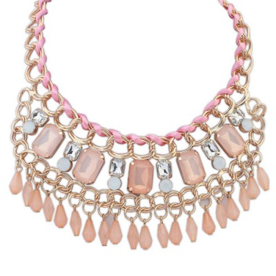 Diaper light pink gemstone decorated tassel design alloy Bib Necklaces
