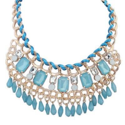 Toddler light blue gemstone decorated tassel design alloy Bib Necklaces