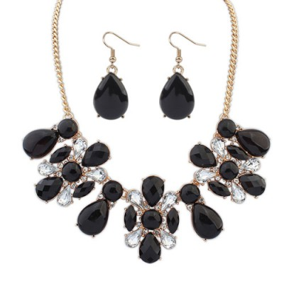 Baltic black gemstone decorated waterdrop shape design alloy Jewelry Sets