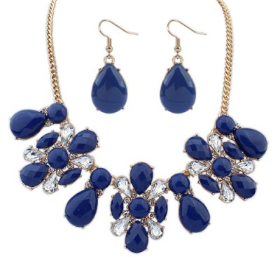 Hydraulic dark blue gemstone decorated waterdrop shape design alloy Jewelry Sets