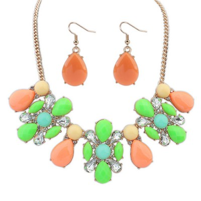 Rent multicolor gemstone decorated waterdrop shape design alloy Jewelry Sets