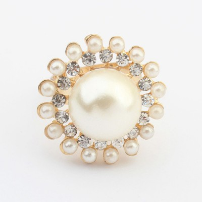 Stretch white pearl decorated round shape design alloy Korean Rings