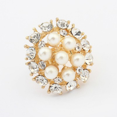 Luxurious white diamond decorated flower design alloy Korean Rings
