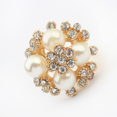 Avalon white diamond decorated flower design alloy Korean Rings
