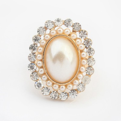 Digital white pearl decorated oval shape design alloy Korean Rings