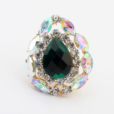 Infinity green gemstone decorated waterdrop shape design alloy Korean Rings
