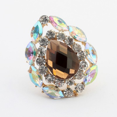 Fitness yellow smoke gemstone decorated waterdrop shape design alloy Korean Rings