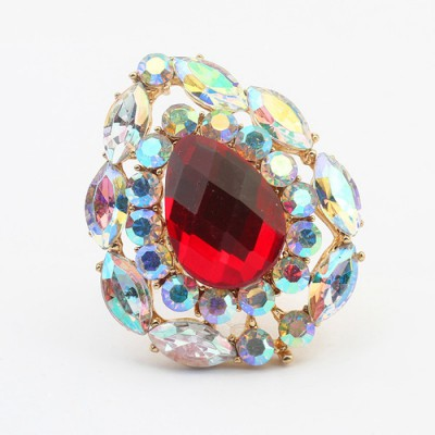 Locket red gemstone decorated waterdrop shape design alloy Korean Rings