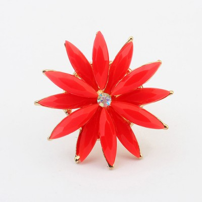 Latest red flower shape simple design alloy Korean Rings