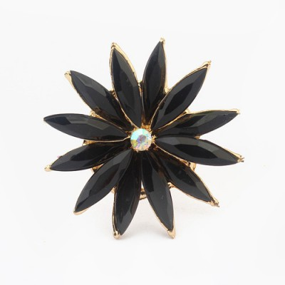 Jockey black flower shape simple design alloy Korean Rings