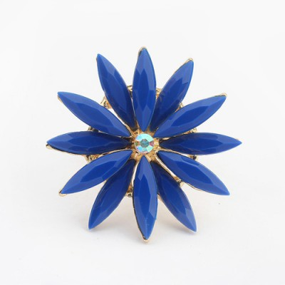 Maxi blue flower shape simple design alloy Korean Rings