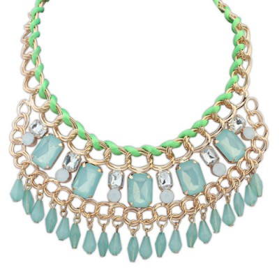 Hunting light green gemstone decorated tassel design alloy Bib Necklaces