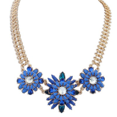 Bodybuildi blue gemstone decorated flower design alloy Bib Necklaces