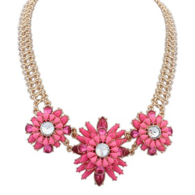 Diaper plum red gemstone decorated flower design alloy Bib Necklaces