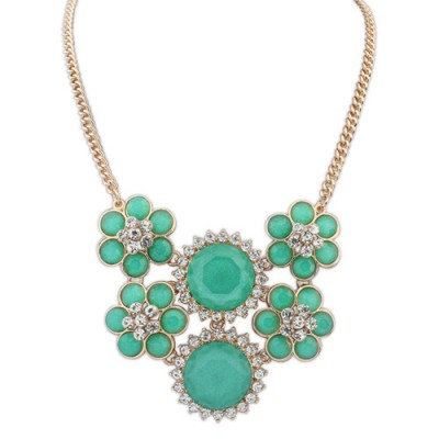 Piercing green diamond decorated flower design alloy Bib Necklaces