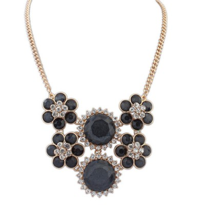 Huge black diamond decorated flower design alloy Bib Necklaces