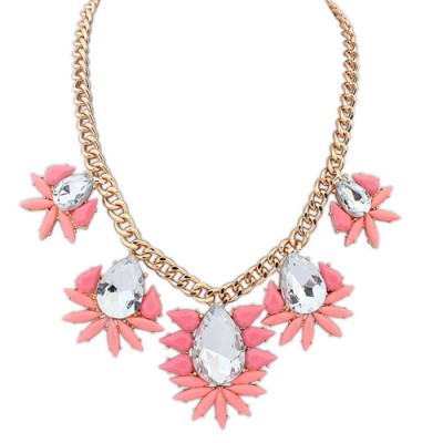 Vera pink gemstone decorated waterdrop design alloy Bib Necklaces