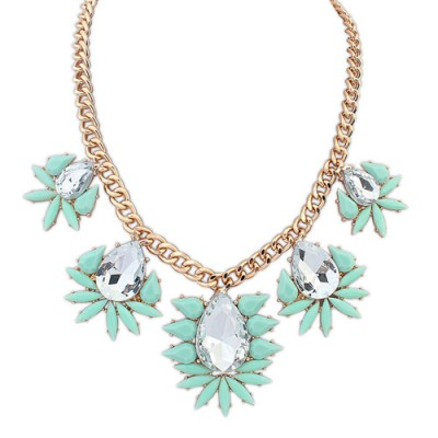 Shopping light green gemstone decorated waterdrop design alloy Bib Necklaces