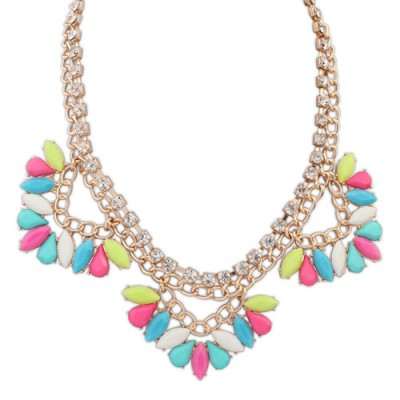 Metallic multicolor gemstone decorated triangle shape design alloy Bib Necklaces