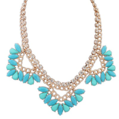 Pearl blue gemstone decorated triangle shape design alloy Bib Necklaces