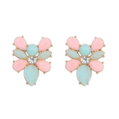 Puppy multicolor gemstone decorated bee shape design alloy Stud Earrings