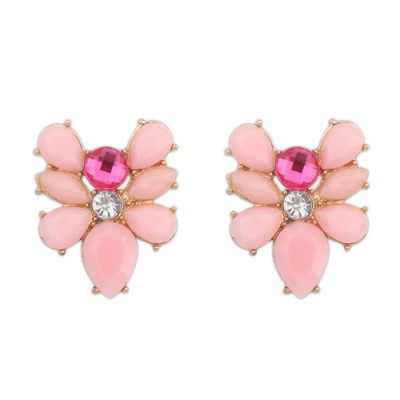 Postal pink gemstone decorated bee shape design alloy Stud Earrings
