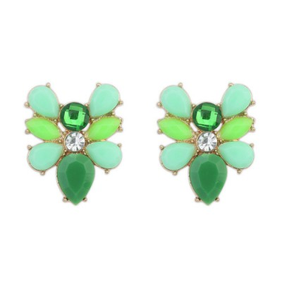 Lush green gemstone decorated bee shape design alloy Stud Earrings
