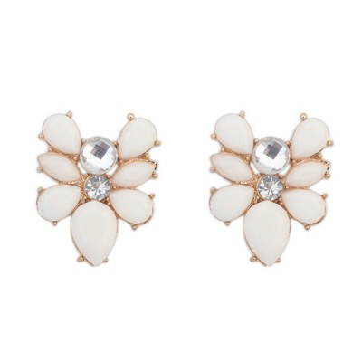 Lightest beige gemstone decorated bee shape design alloy Stud Earrings