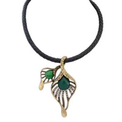 2012 green leaf decorated hollow out design alloy Pendants