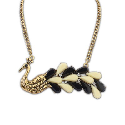 Magnifying black & beige gemstone decorated peacock shape design alloy Chains