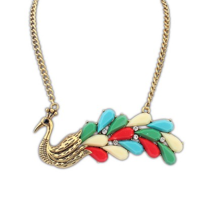 Maternity multicolor gemstone decorated peacock shape design alloy Bib Necklaces