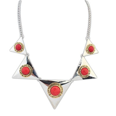 Fresh ancient silver & red gemstone decorated triangle shape design alloy Bib Necklaces