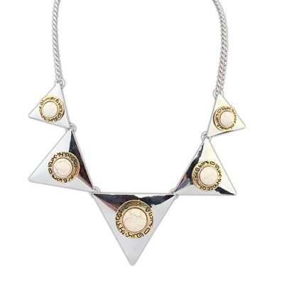 Maternity ancient silver& beige gemstone decorated triangle shape design alloy Bib Necklaces