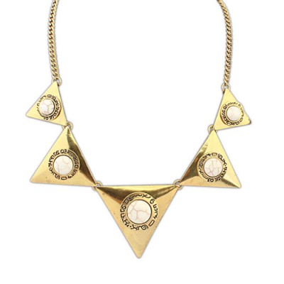 Blank bronze & beige gemstone decorated triangle shape design alloy Bib Necklaces