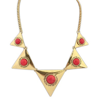Daisy bronze & red gemstone decorated triangle shape design alloy Bib Necklaces