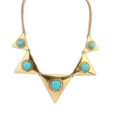 Plated bronze & blue gemstone decorated triangle shape design alloy Bib Necklaces