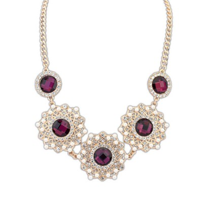 Claddagh purple gemstone decorated hollow out design alloy Bib Necklaces
