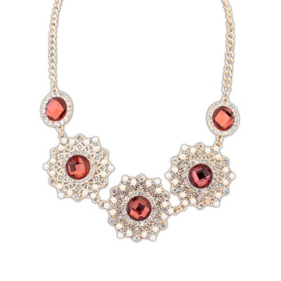 Quilted red gemstone decorated hollow out design alloy Bib Necklaces