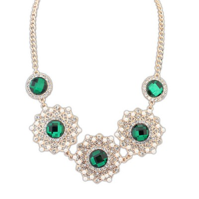 Garnet green gemstone decorated hollow out design alloy Bib Necklaces