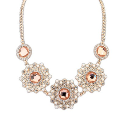 Costume light brown gemstone decorated hollow out design alloy Bib Necklaces