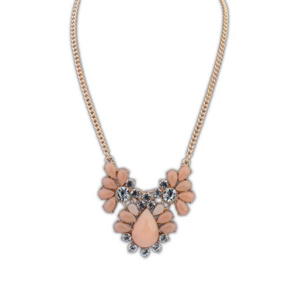 Screw pink diamond decorated waterdrop shape design alloy Bib Necklaces