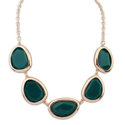 Connor green gemstone decorated oval shape design alloy Bib Necklaces