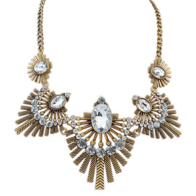 Plaid white & gold color diamond decorated fan shape design alloy Bib Necklaces