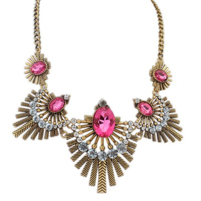 Security purple & gold color diamond decorated fan shape design alloy Bib Necklaces
