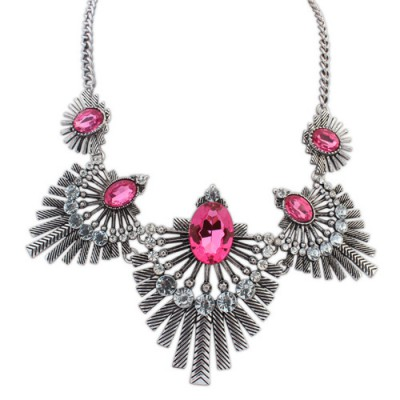 Pendant purple & ancient silver diamond decorated fan shape design alloy Bib Necklaces