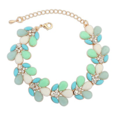 Wedding white gemstone decorated waterdrop shape design alloy Korean Fashion Bracelet