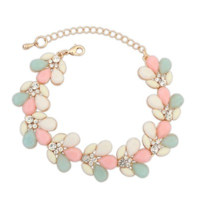 Punk pink gemstone decorated waterdrop shape design alloy Korean Fashion Bracelet