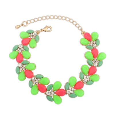 Designer red gemstone decorated waterdrop shape design alloy Korean Fashion Bracelet