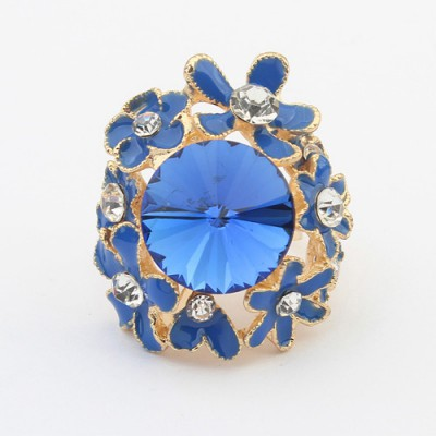 Long blue gemstone decorated flower design alloy Korean Rings