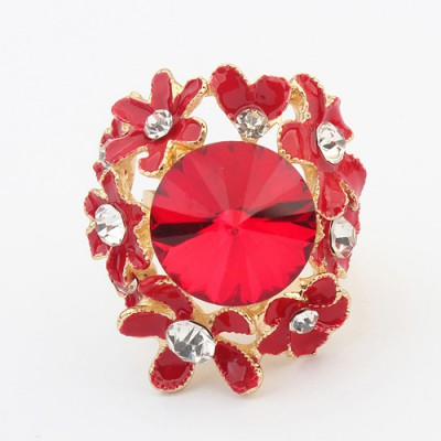 Bridal red gemstone decorated flower design alloy Korean Rings